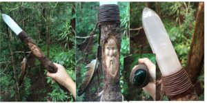 Hand-carved Wood Spirit in Camphor Laurel with Selenite tip & Moss Agate base. Pagan, Healing